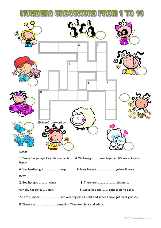 Numbers Crossword From 1 To 10 Key Is Included Worksheet