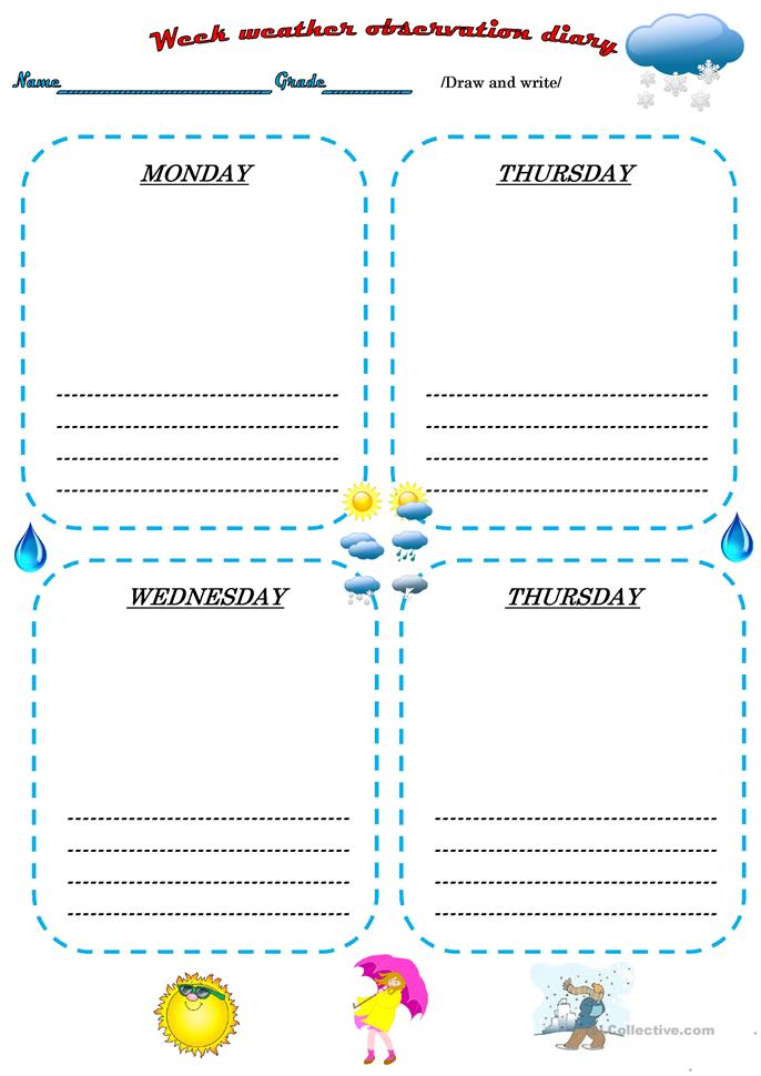 Weather Observation Diary Worksheet