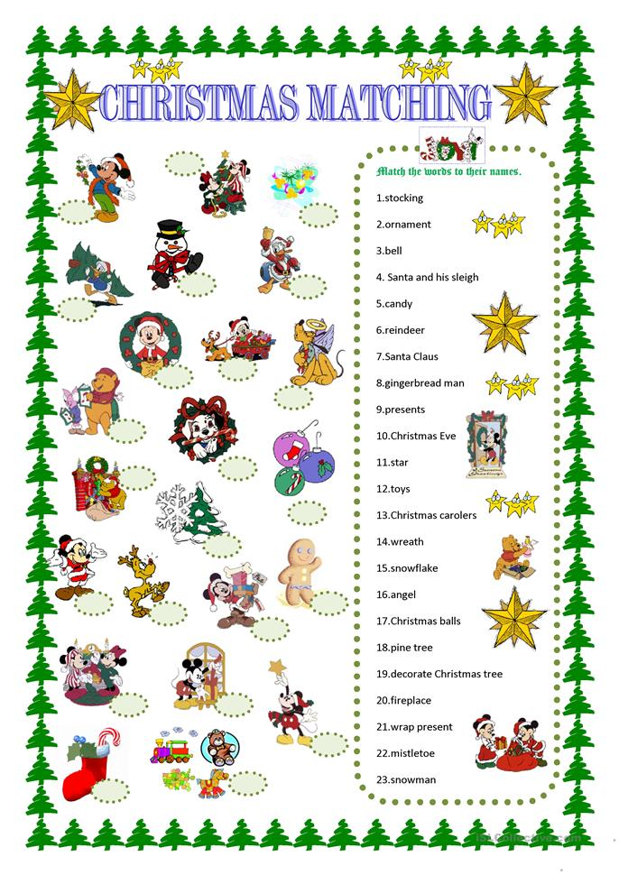 Christmas Matching With Disney Characters Worksheet