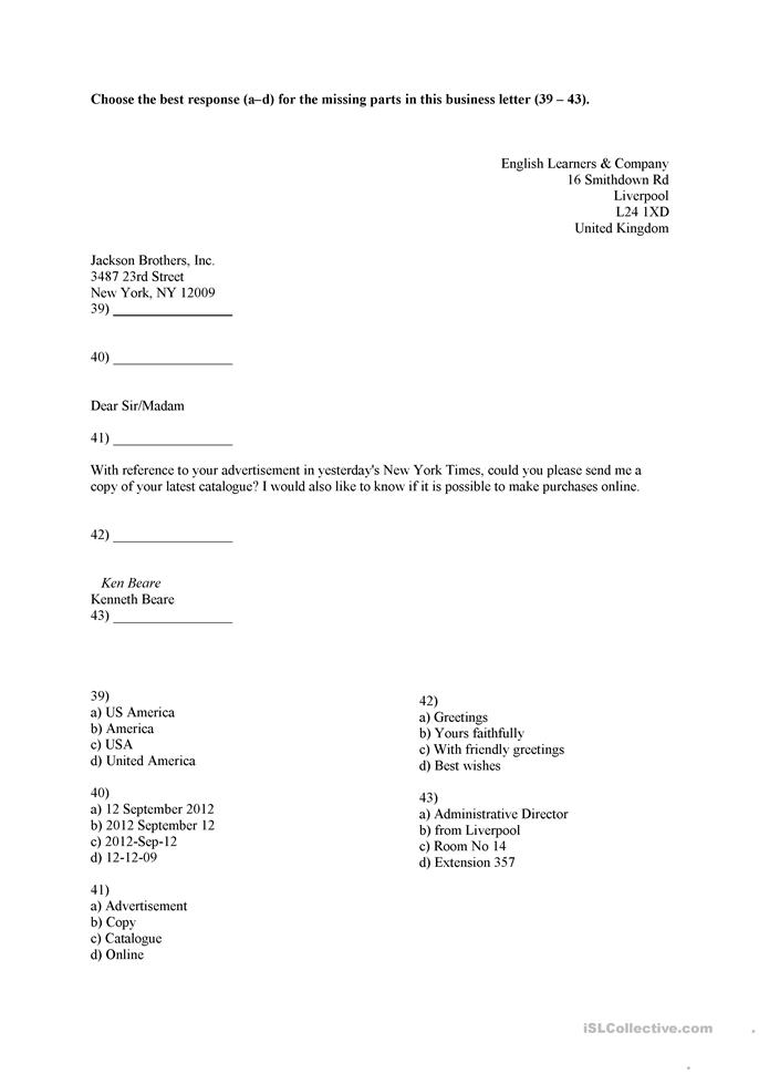 Business Letter Worksheet Worksheet