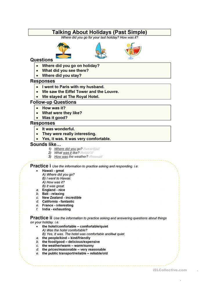 My Holiday Simple Past Worksheet