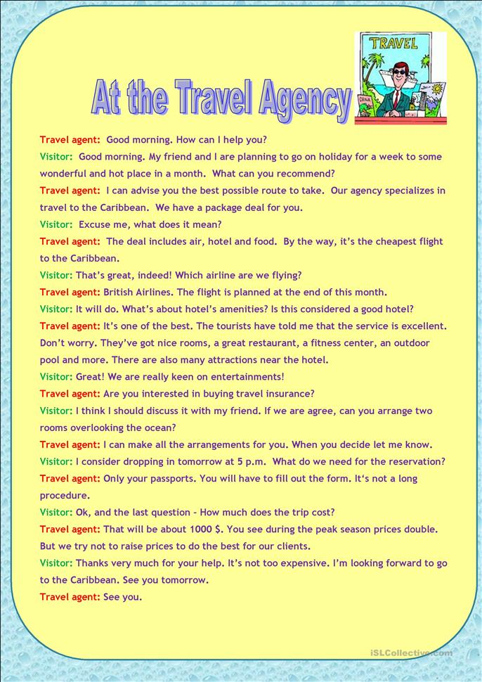 At The Travel Agency Worksheet