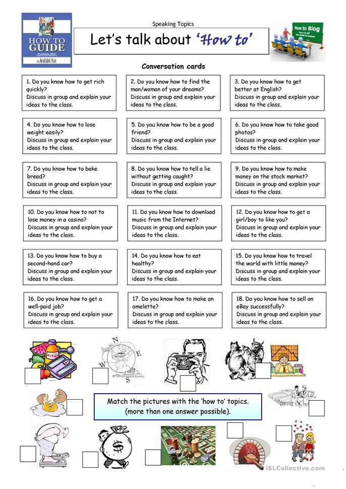 Lets Talk About HOW TO Worksheet Free ESL Printable