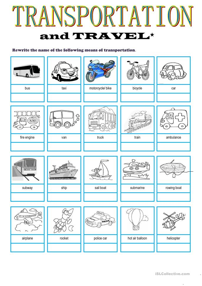 Transportation Amp Travel Vocabulary Worksheet