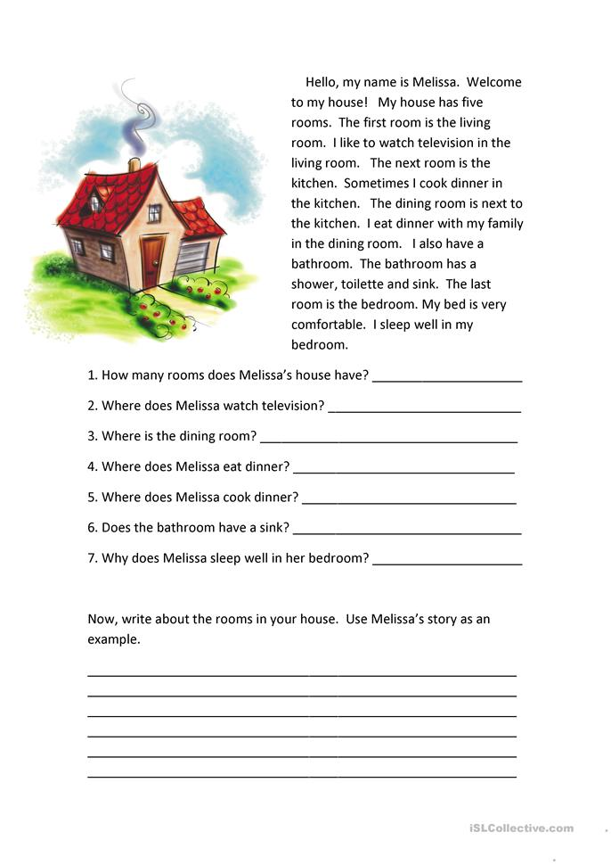 Rooms Of The House Reading Comprehension Worksheet