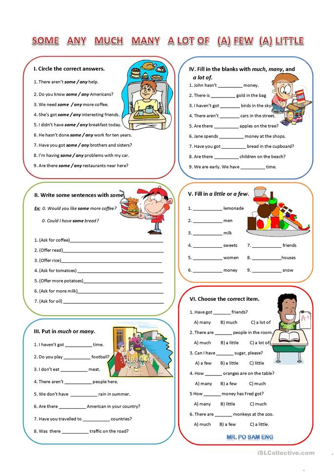 143 Free Esl Quantifiers E G Some Many Much Any Few
