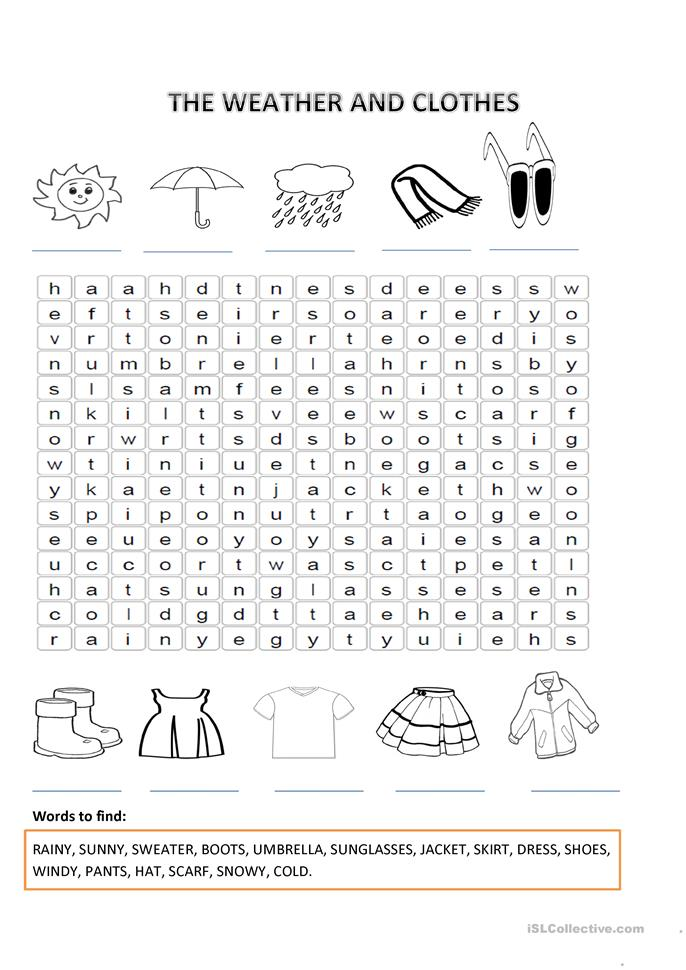 The Weather And Clothes Worksheet