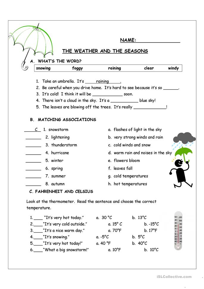 The Weather And The Seasons Worksheet