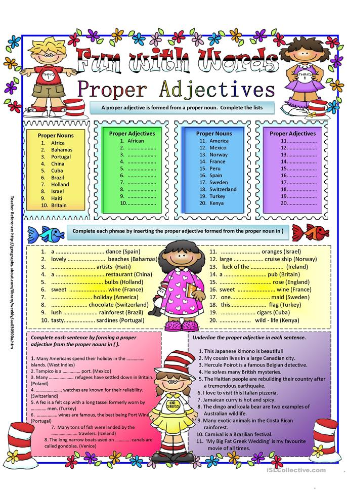 Proper Adjectives Worksheet