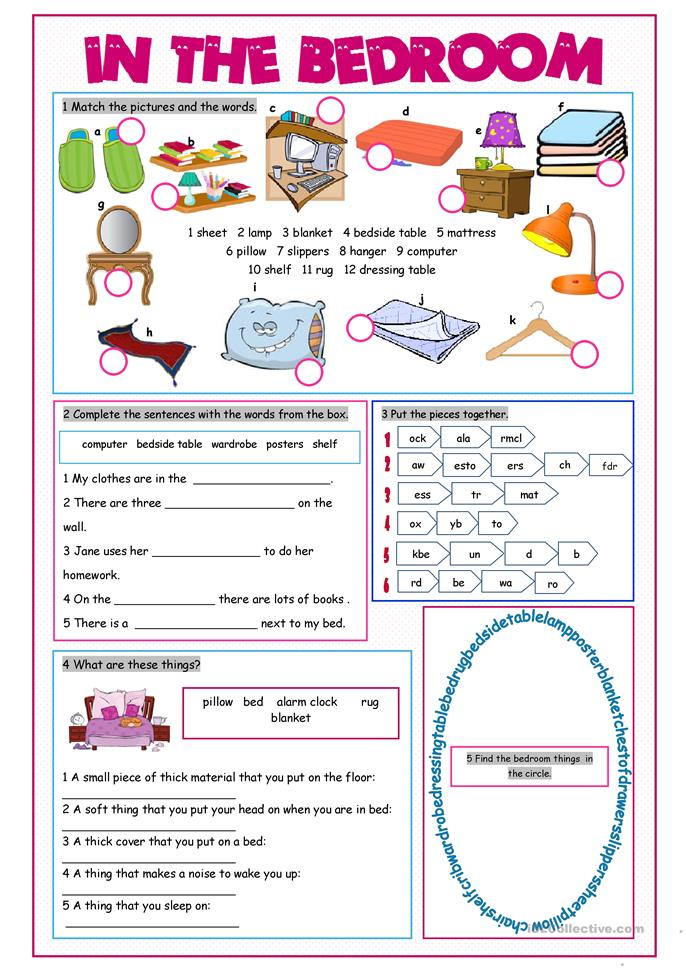 In The Bedroom Vocabulary Exercises Worksheet