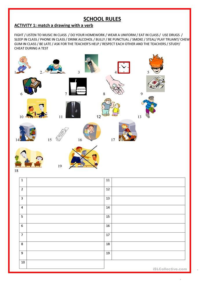 24 Free Esl School Rules Worksheets