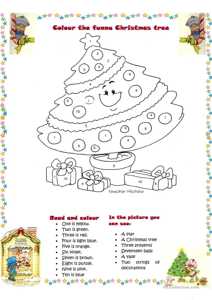 Colour The Funny Christmas Tree Worksheet