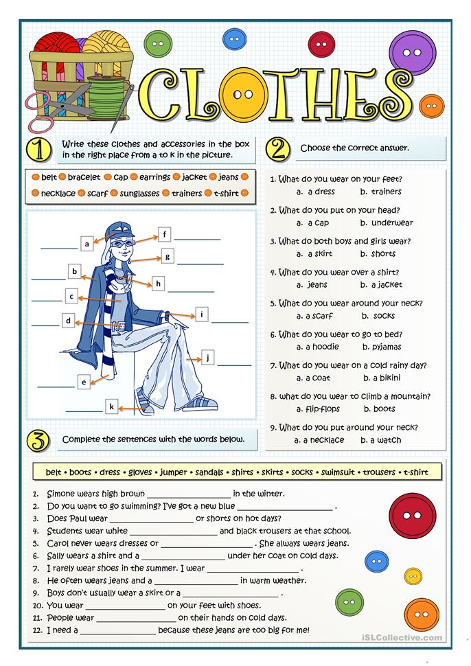 What Clothes Do You Wear Worksheet