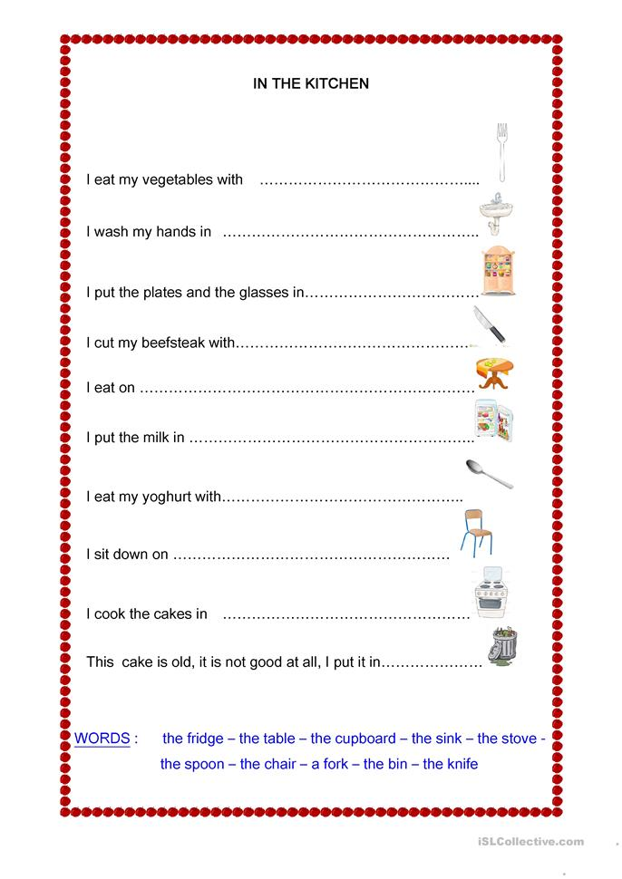 IN THE KITCHEN Worksheet Free ESL Printable Worksheets