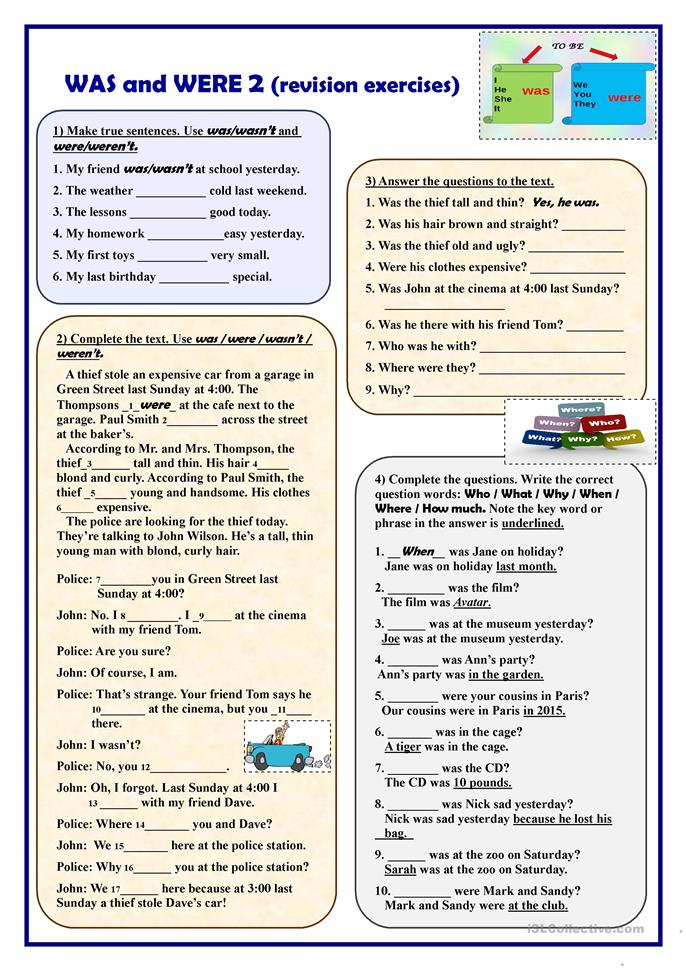 Was And Were 2 Revision Exercises Worksheet