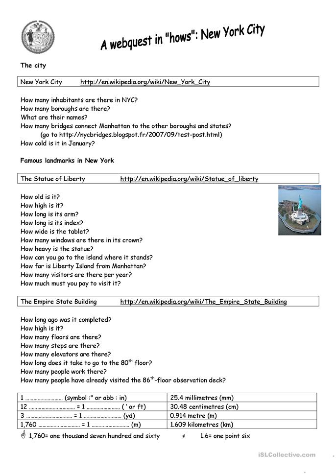 Nyc A Webquest In How Worksheet