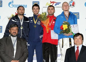 An awarding ceremony for the men's A56 -80kg weight category.