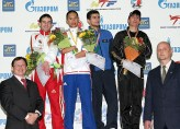 An awarding ceremony for the men's A567 -58kg weight category.