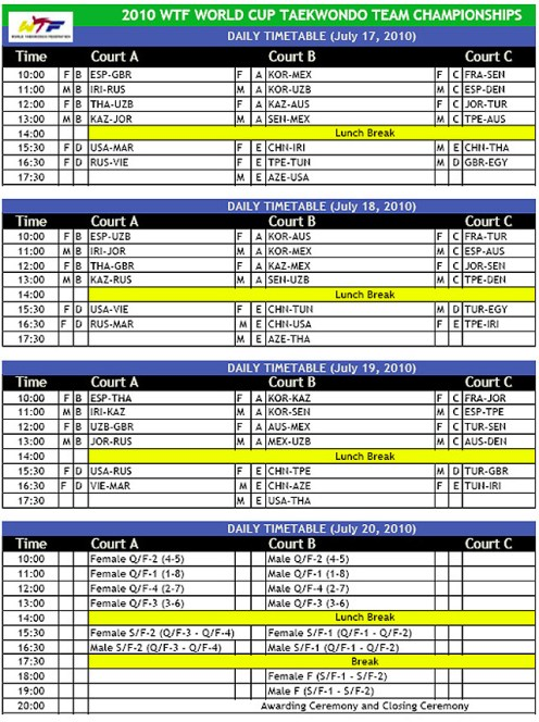 Competition Schedule of 2010 WTF World Cup Taekwondo Team Championships (PDF)