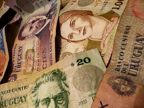 Photo of several denominations of Uruguayan currency