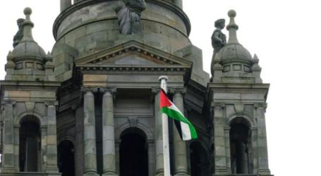 GLASGOW FLIES PALESTINIAN FLAG IN SUPPORT OF GAZA