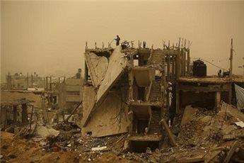 RUINED GAZA HOMES OFFER LITTLE SHELTER FROM STORM