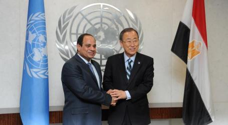 BAN KI-MOON, EL-SISI DISCUSS MIDEAST PEACE IN NEW YORK