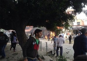 Site where a prominent Palestinian official was assassinated Tuesday in a car explosion near the southern Palestinian refugee camp of Ain al-Hilweh.