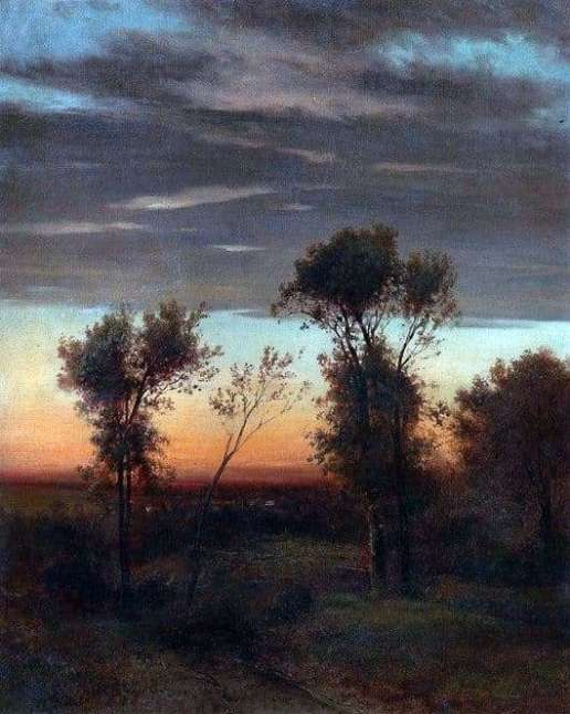 """Description of the painting by Alexei Savrasov """"Evening ..."""