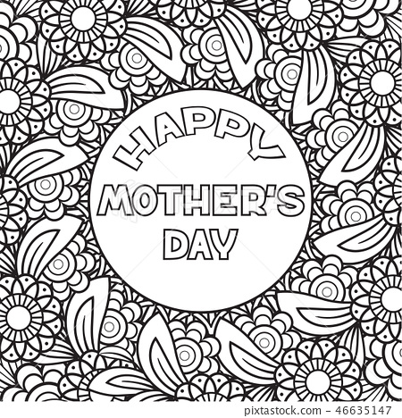 Happy Mother S Day Coloring Page Stock Illustration 46635147 Pixta