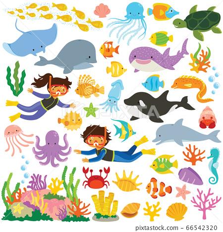 Sea Animals Clipart Set Big Collection Of Stock Illustration 66542320 Pixta