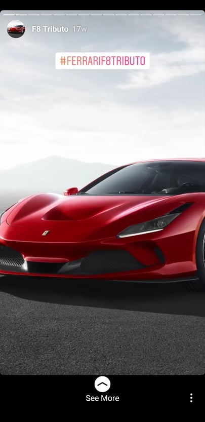 Histoires Ferrari sur Instagram