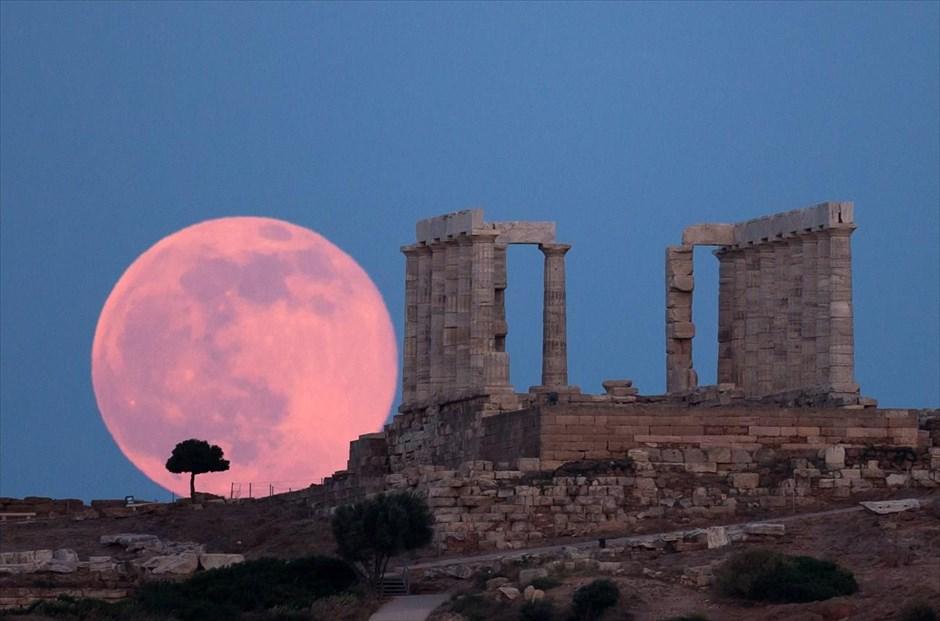 Full Moon Rising At Sounion