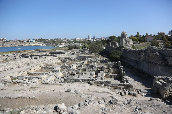 Ruins of the Greek city of Chersonesos Taurica founded in Crimea by Greek colonists more than 2,500 years ago.