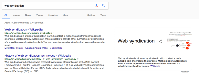 Knowledge graph for web syndication