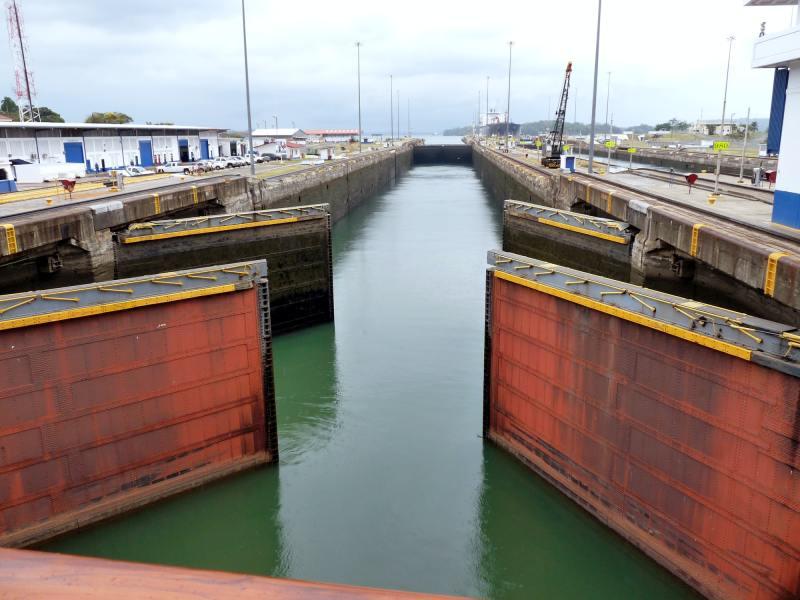 Panama Canal transit chamber gates.