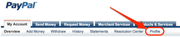 Link to Profile page from PayPal menu