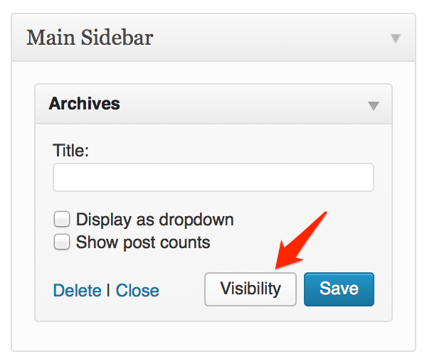 Jetpack Visibility Module for WordPress widgets