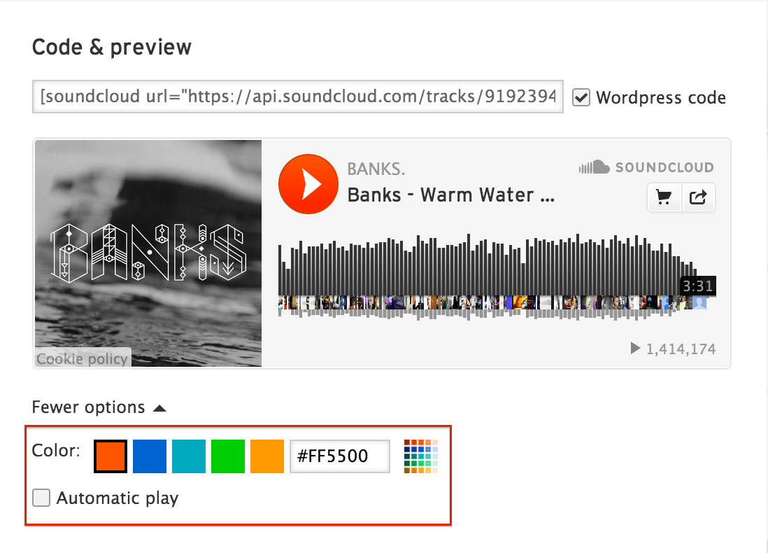 Soundcloud color autoplay options