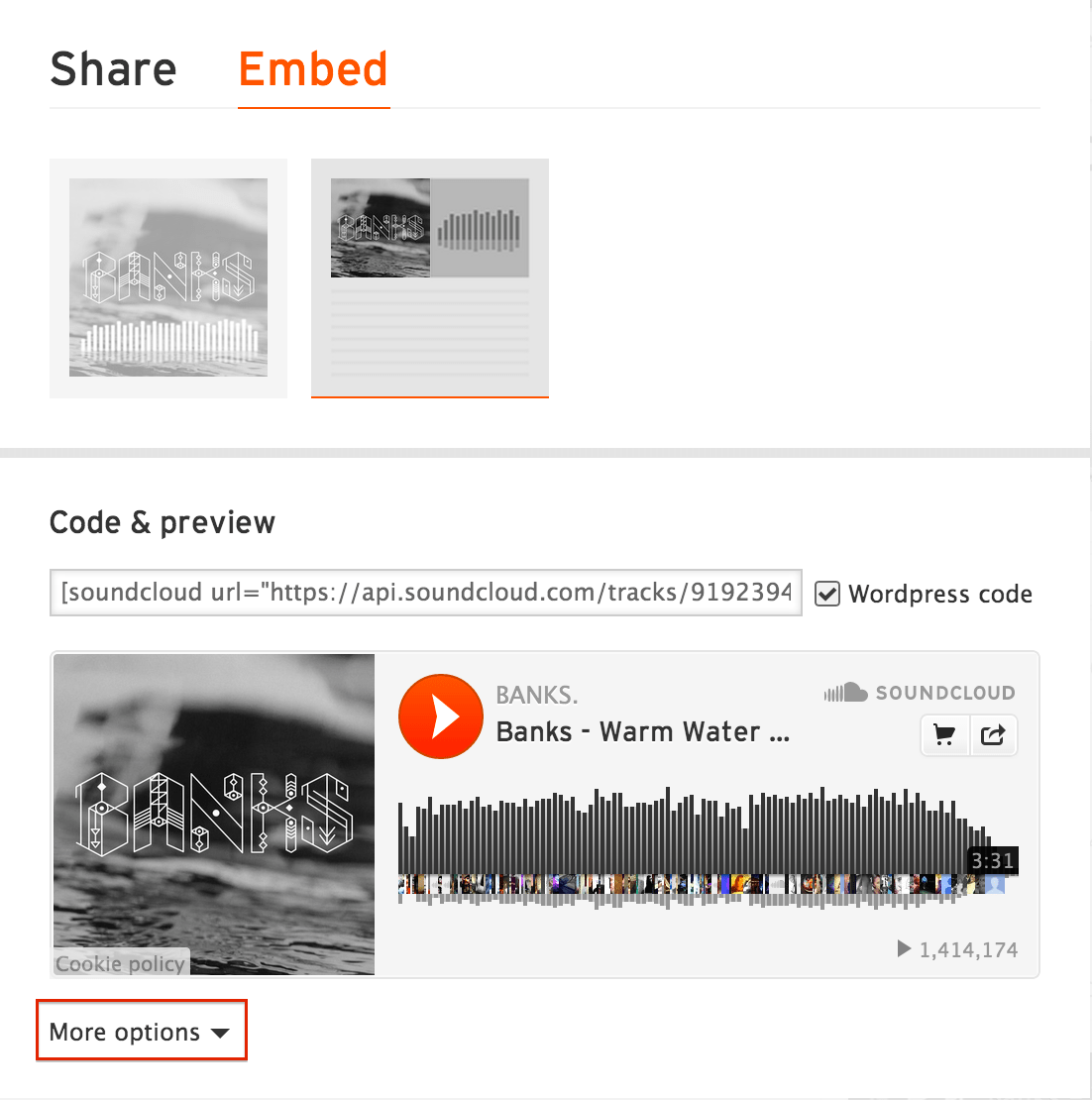 Soundcloud more options