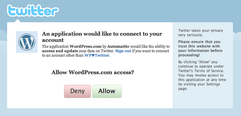 Publicize: Twitter grant authorization dialog