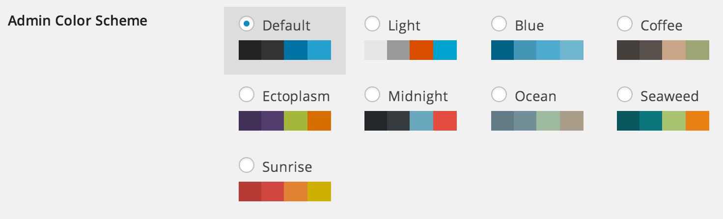 Personal Settings - Admin Color Scheme