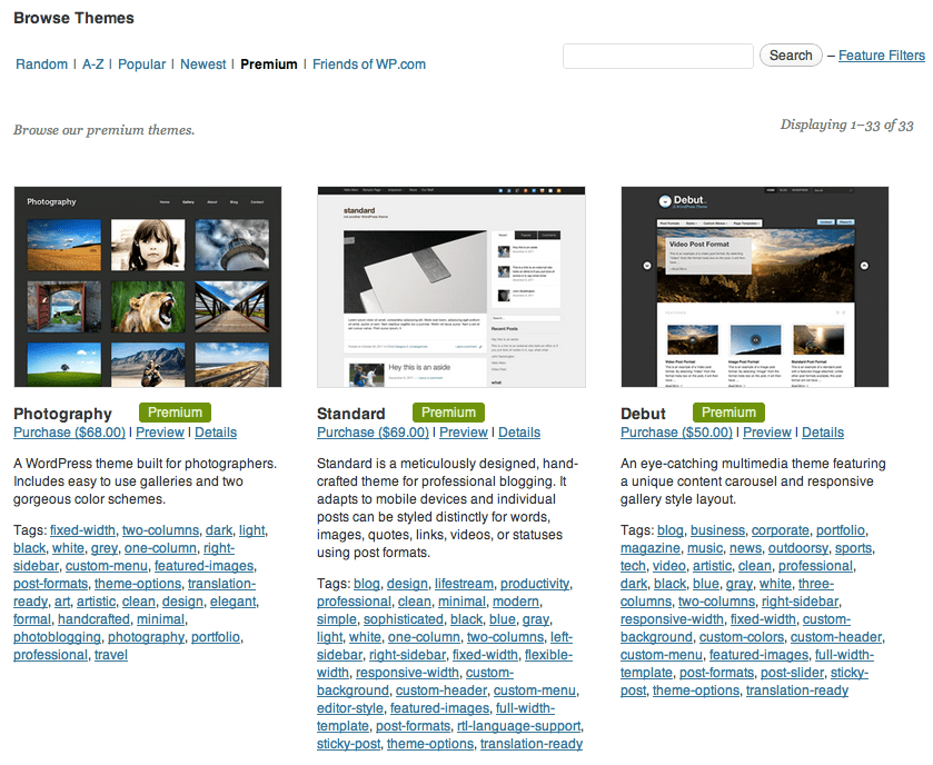 Choosing premium themes in the WordPress.com Dashboard