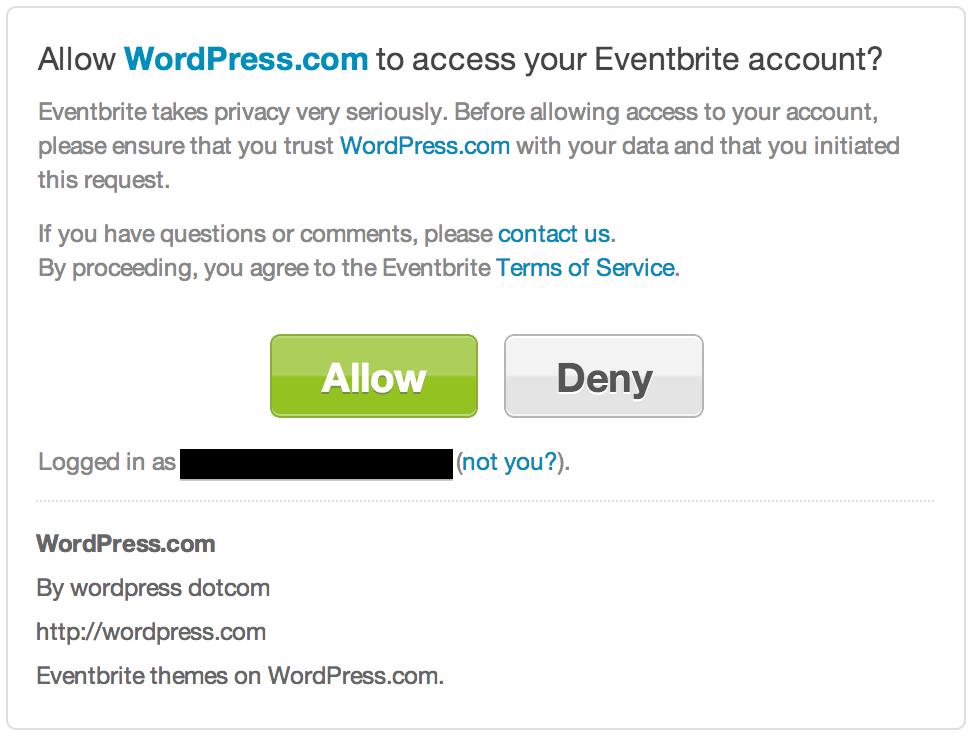 Eventbrite widget - Allow access