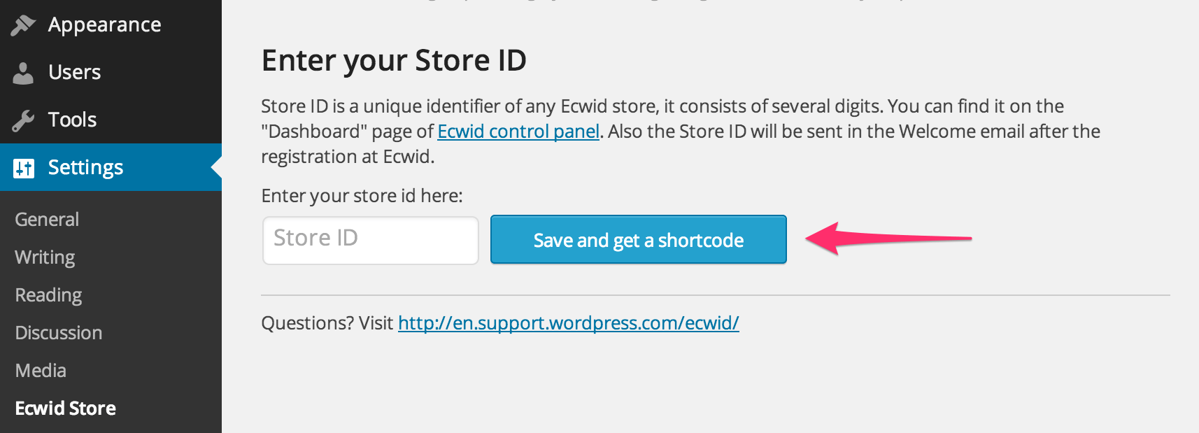 Enter the store ID you got from the Ecwid Dashboard to connect Ecwid to your site