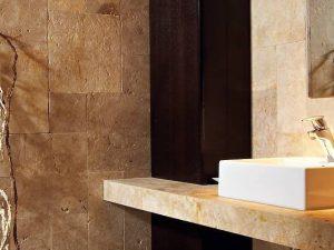 antares cream travertine countertop for bathroom