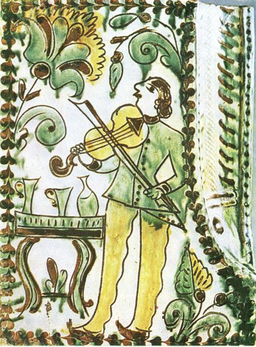 """Olexa Bakhmatiuk - Tile """"Fiddler"""", 1870. 23 X 17 cm."""