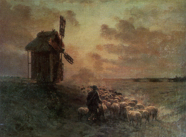 Serhiy Vasylkivsky. Returning from the Pasture. Oil on canvas. 34x47 cm.