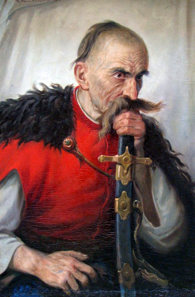 Antin Manastirsky - Zaporozhian Cossack. Oil on canvas pasted on plywood. 81 x 54,5 cm. 1932.
