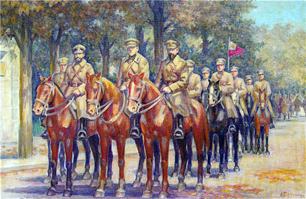 "Leonid Perfecky - Sixth ""Sich"" Rifle Division of the Ukrainian National Republic in Stanislaviv, 1918. Oil, 46x76 cm."
